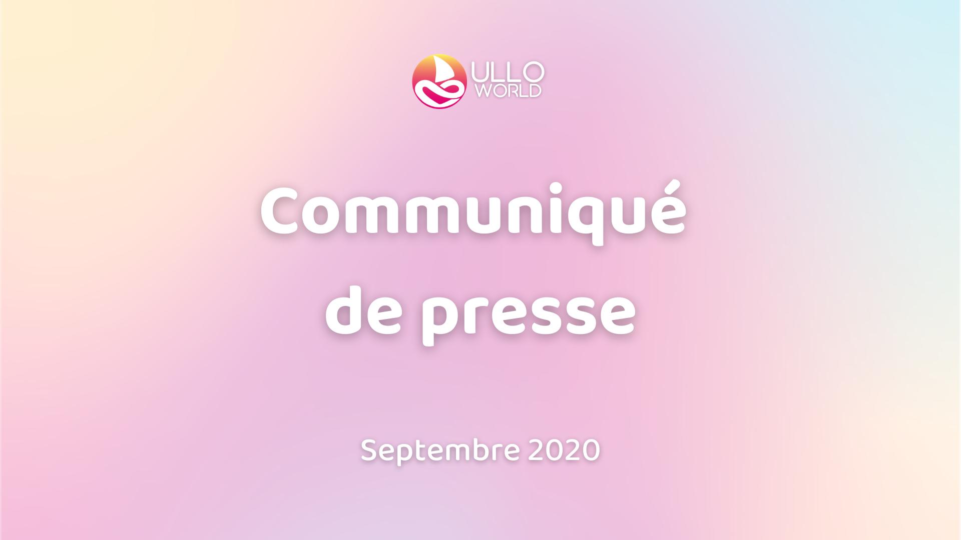 Communiqué de presse, septembre 2020 de la start-up Ullo.